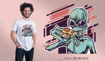 Ausländer, der Pizza-T-Shirt Entwurf isst