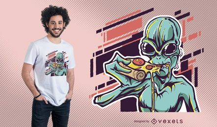 Diseño de camiseta Alien Eating Pizza