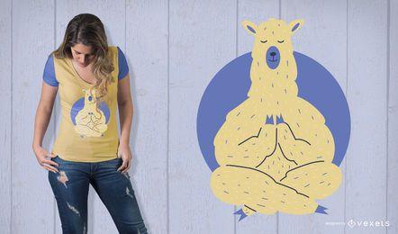 Diseño de camiseta de llama meditando