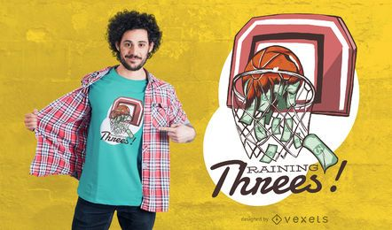 Diseño de camiseta Raining Threes