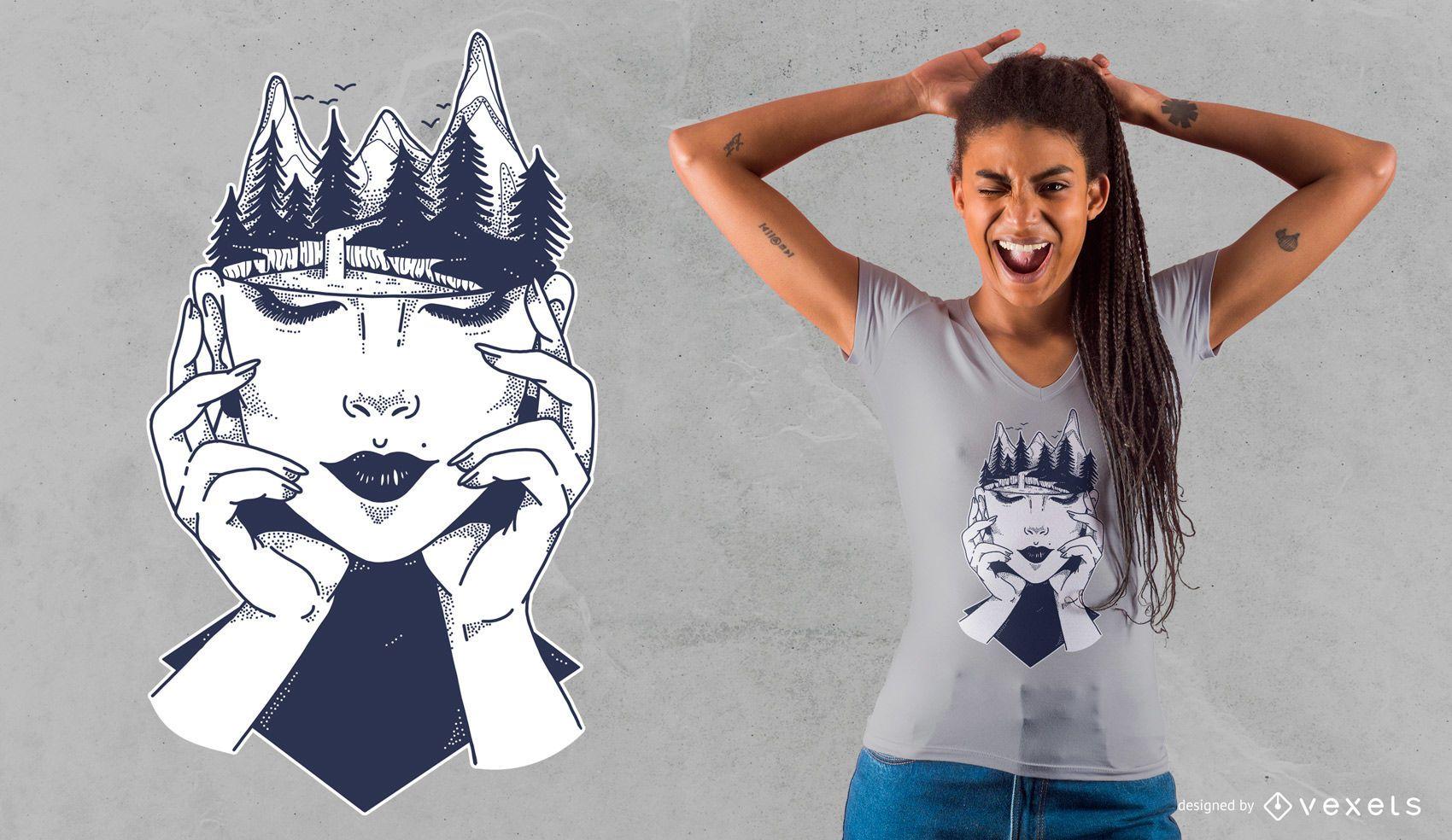 Diseño de camiseta de cabeza de mujer