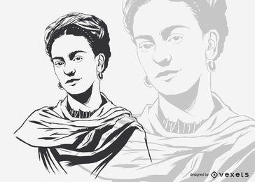 Ilustração de Frida Kahlo