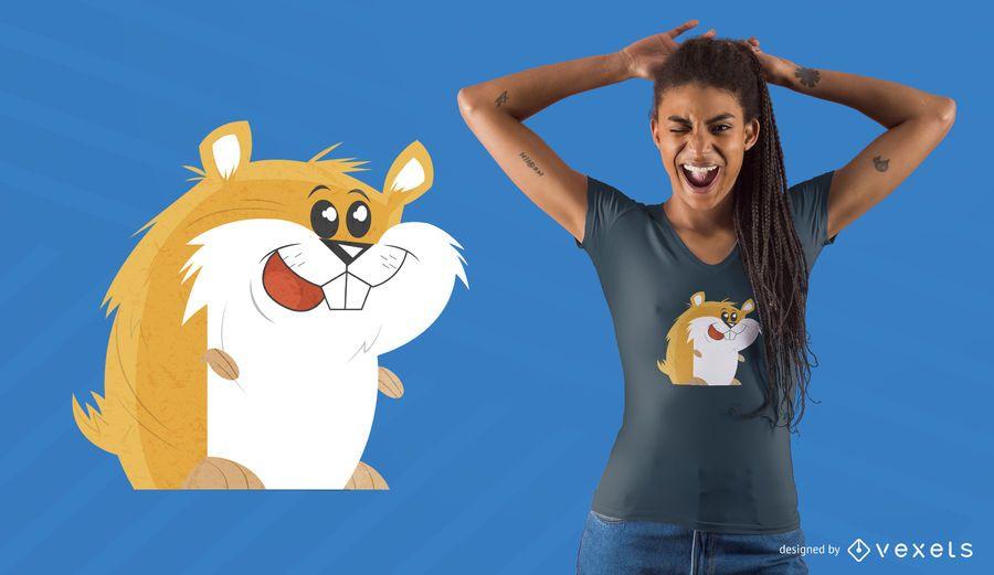 Diseño de camiseta de hámster de dibujos animados