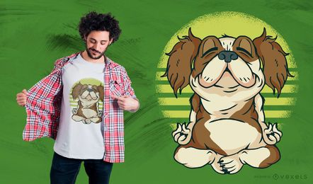 Design do t-shirt do cão de Meditaiting