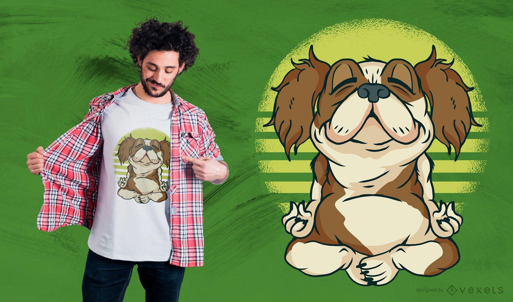 Diseño de camiseta de perro meditando