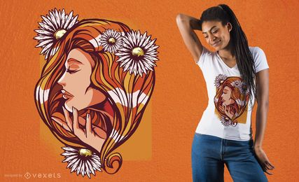 Design de t-shirt de mulher de cabelo vermelho