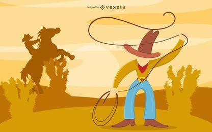 Projeto de ilustração do deserto de vaqueiro