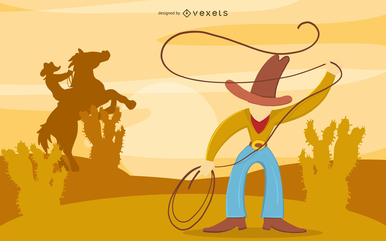 Diseño de ilustración del desierto de vaquero