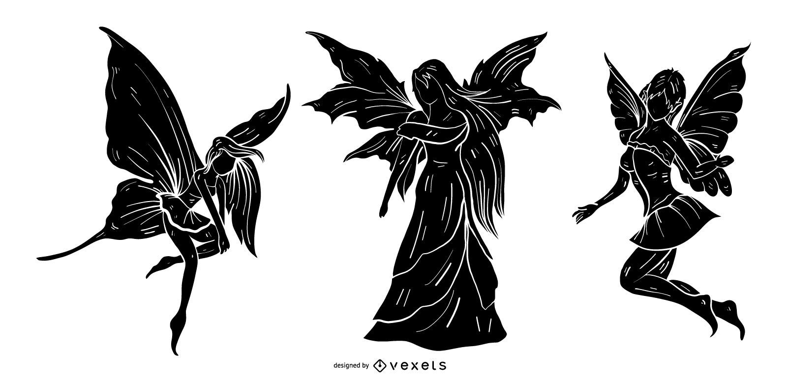 Winged Fairy Silhouette Set