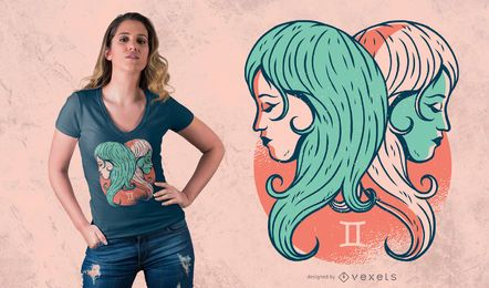 Diseño de camiseta Géminis Zodiac