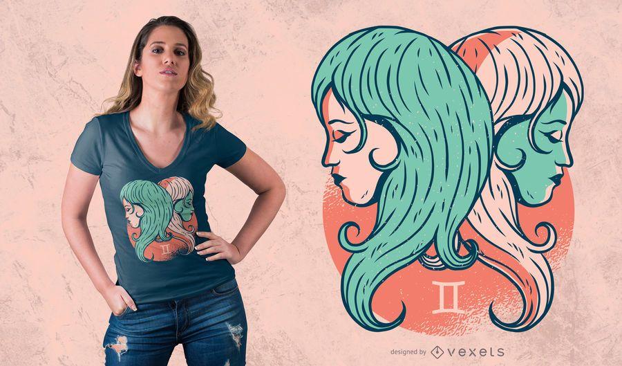 Projeto do t-shirt do zodíaco dos Gêmeos