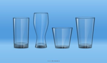 Conjunto de vectores de vidrio para beber