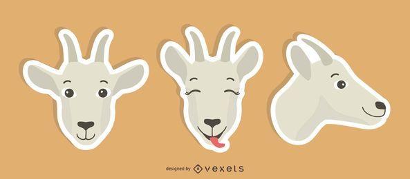 Conjunto de adesivos de cabra