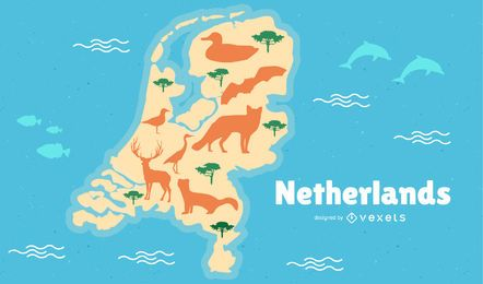 Mapa de Países Bajos Ilustración