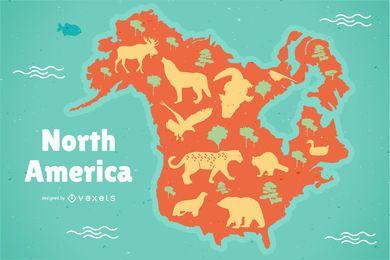 Ilustração de mapa da América do Norte