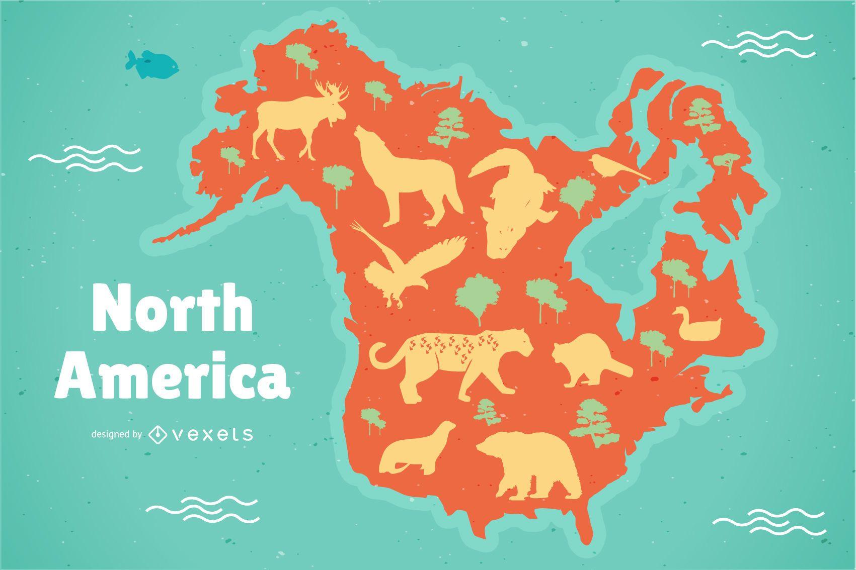 Ilustración del mapa de América del norte