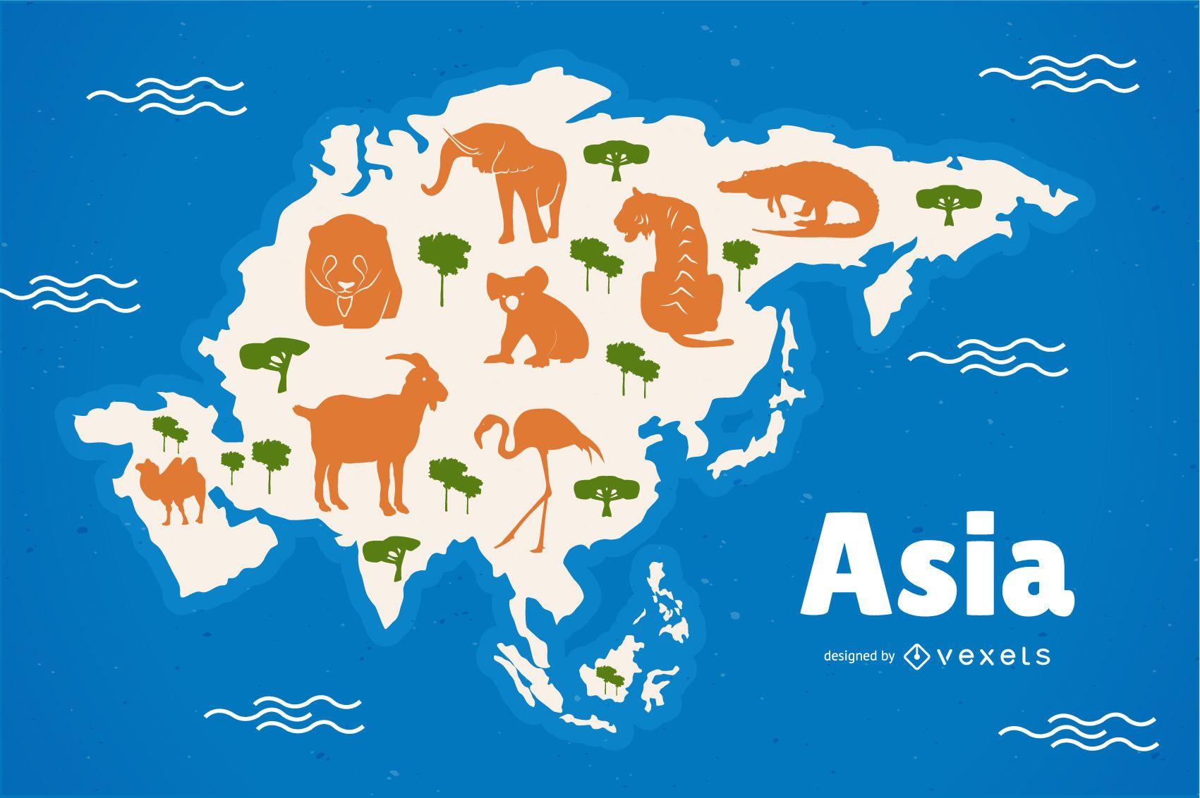 Ilustración de mapa de animales de Asia