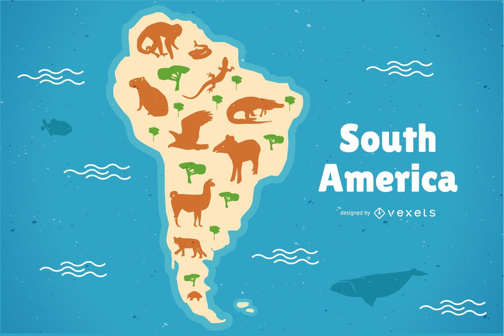 Ilustración de mapa de animales de América del sur