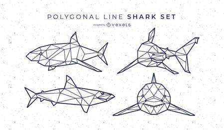 Set de líneas poligonales de tiburón