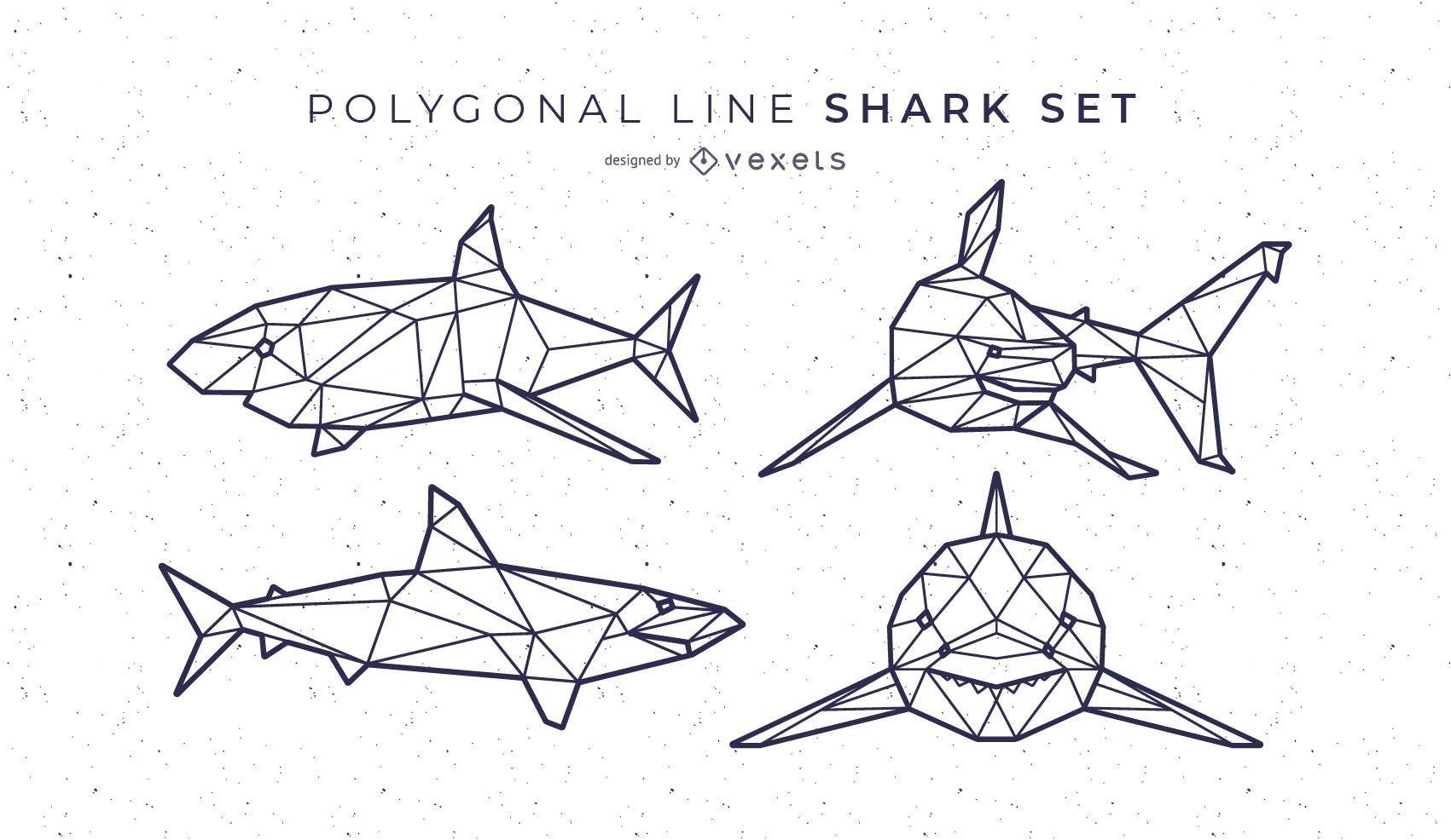 Shark Polygonal Line Set