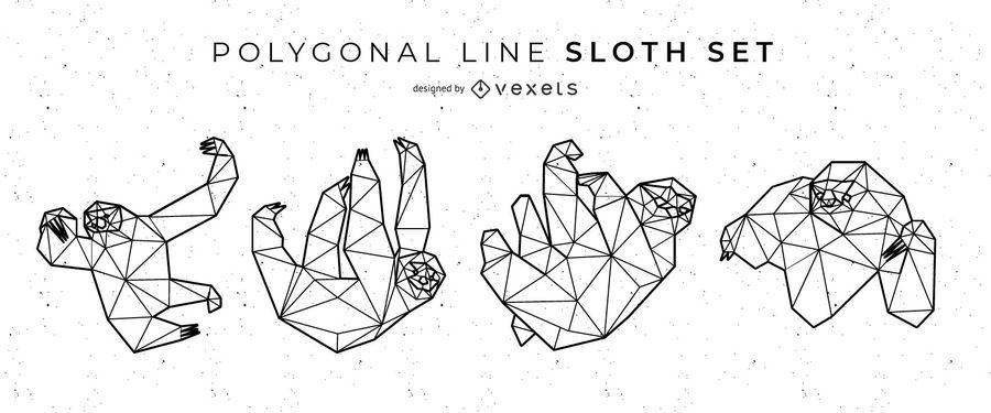 Sloth Polygonal Line Vector Set