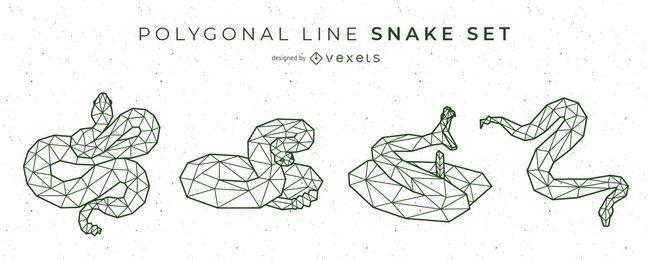 Conjunto de vectores de línea poligonal de serpiente