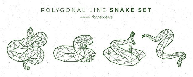 Snake Polygonal Line Vector Set