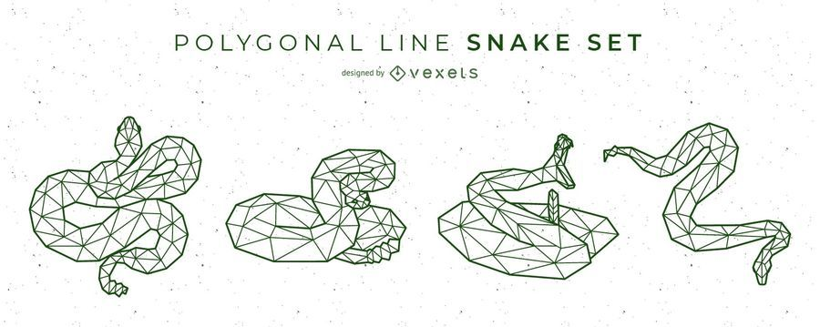 Snake Polygonal Line Vector Set