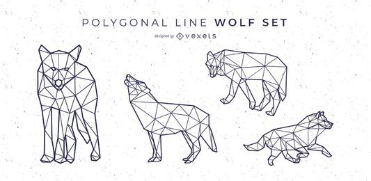 Conjunto de vectores de estilo de línea poligonal de lobo