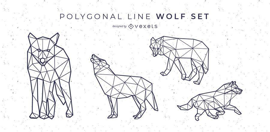 Wolf Polygonal Line Style Vector Set