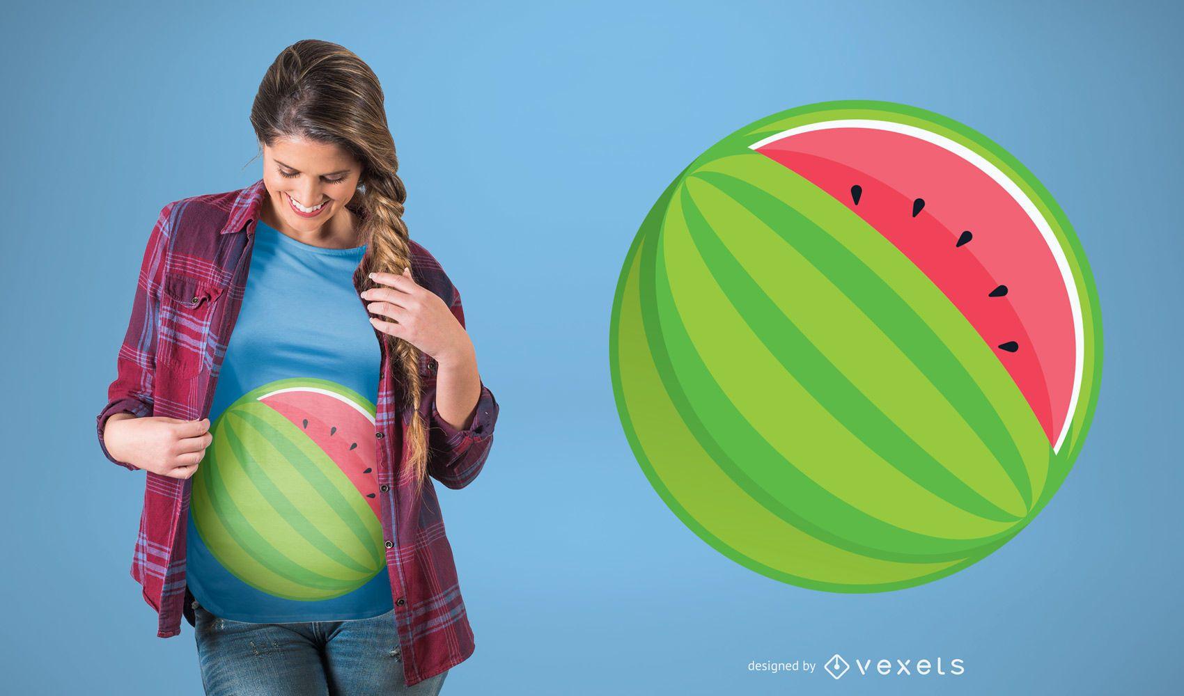 Diseño de camiseta de sandía de embarazo