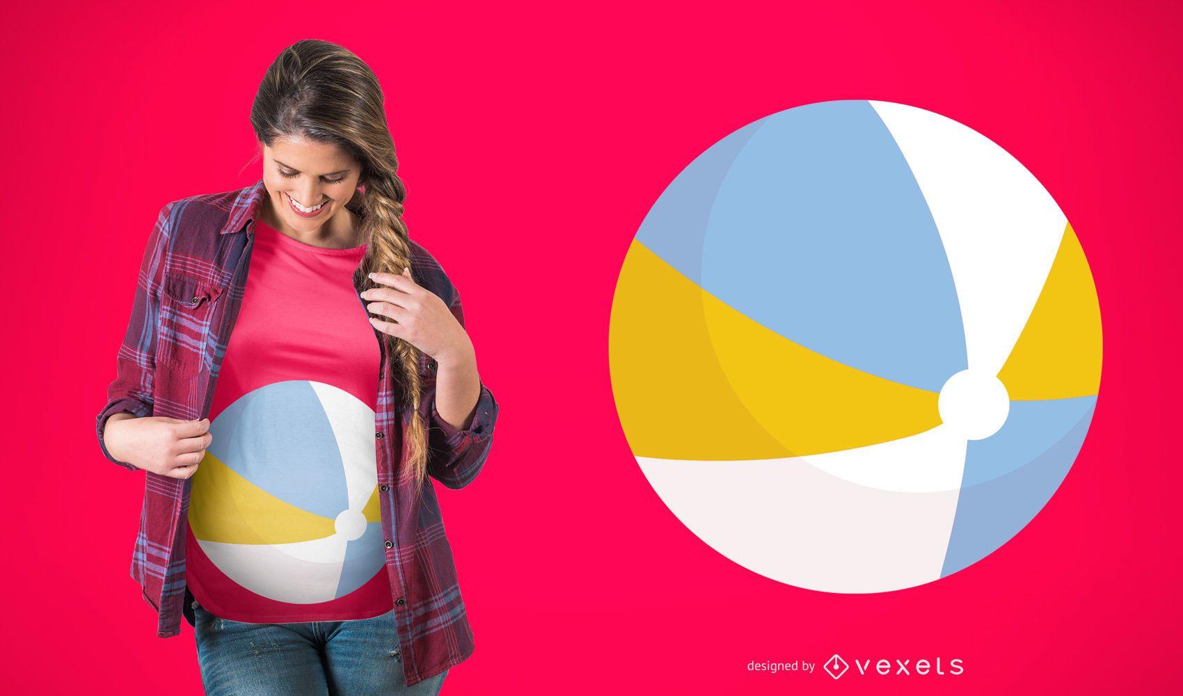 Diseño de camiseta de embarazo de pelota de playa