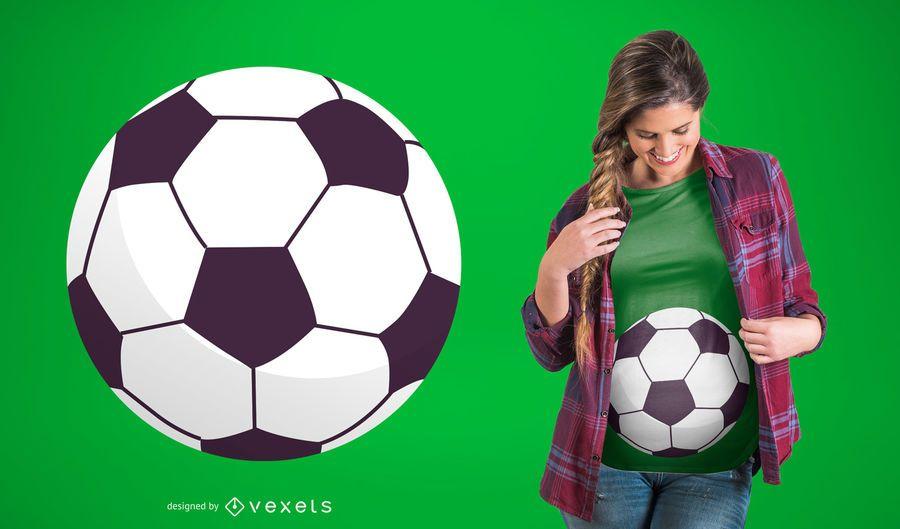 Diseño de la camiseta del embarazo del balón de fútbol
