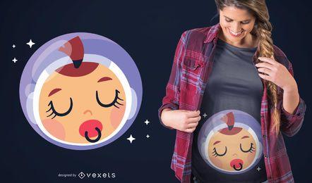 Design de camiseta de astronauta para bebê dormindo