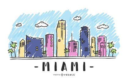 Miami, eua, skyline, desenho