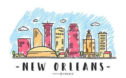 New Orleans USA Skyline Design