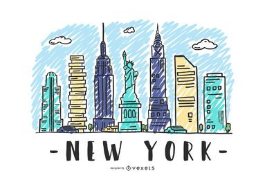 New York USA Skyline-Design