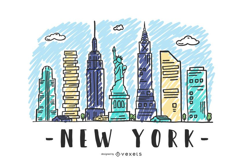 New York USA Skyline Design