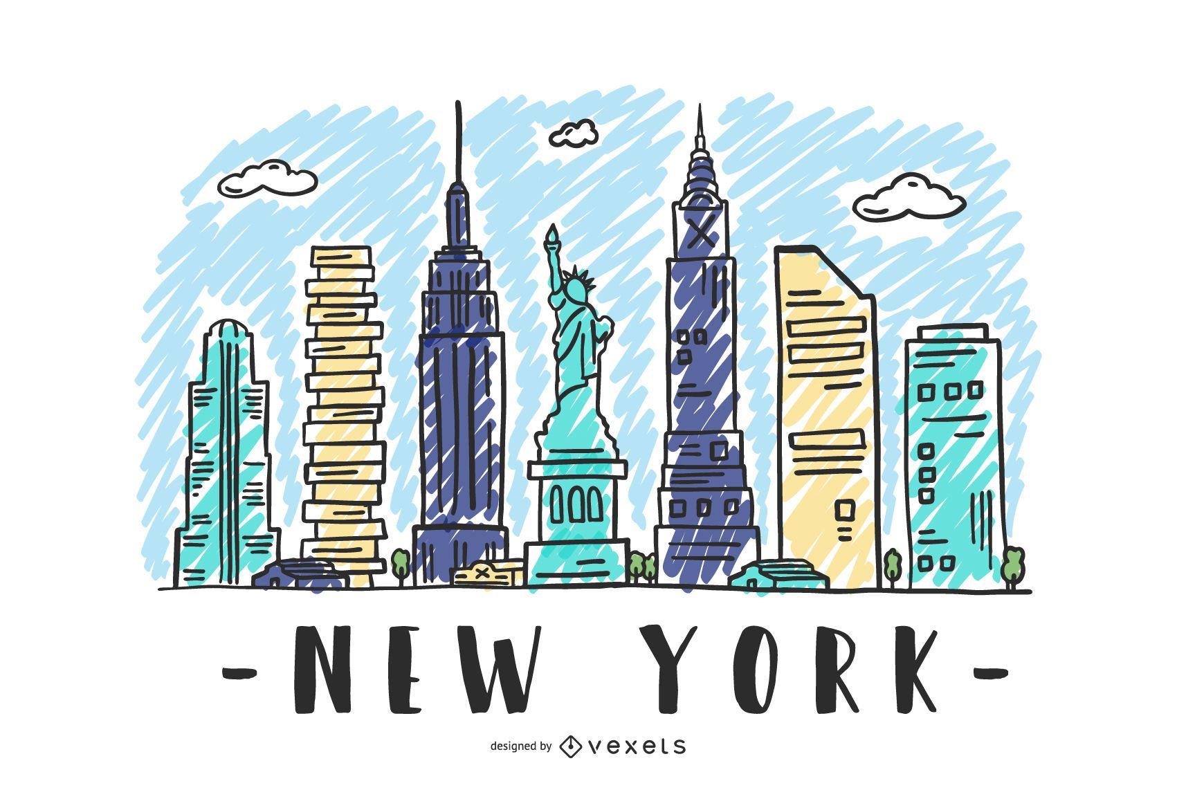 New York USA Skyline Design
