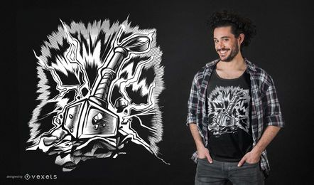 Diseño de camiseta de martillo vikingo