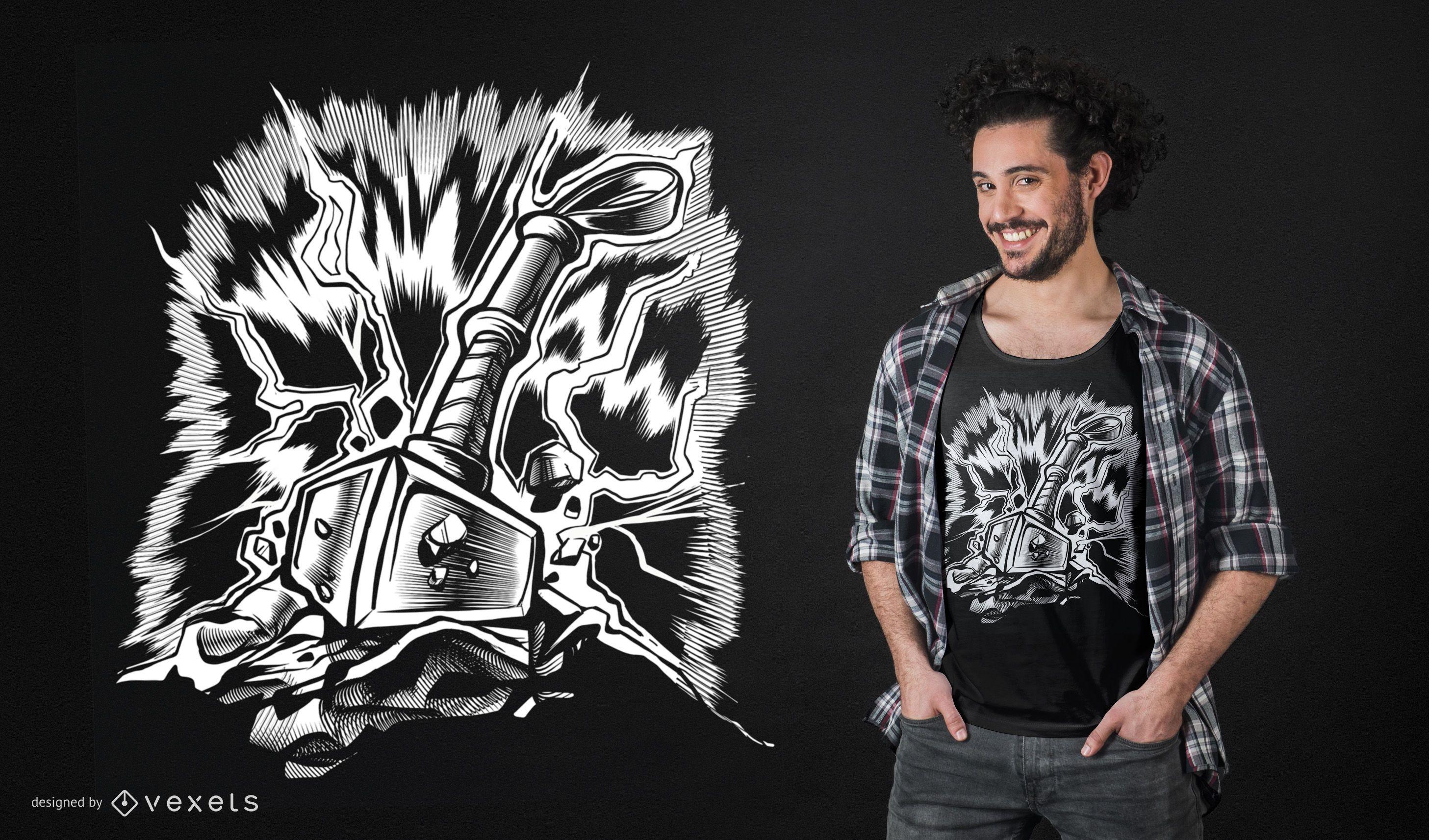 Design de camiseta do martelo Viking