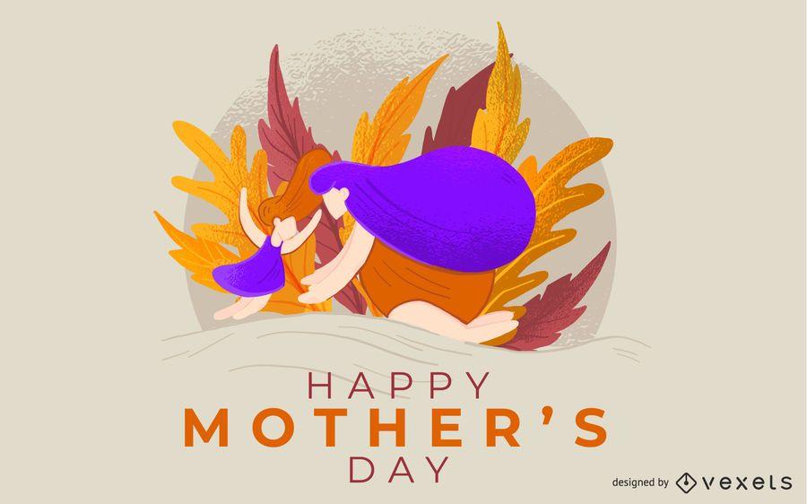 Diseño feliz de la ilustración del día de madre