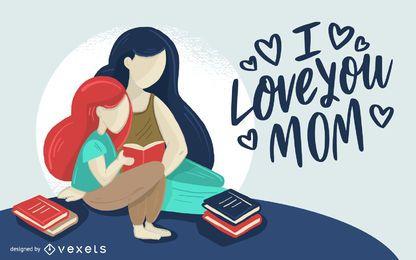 Amor mãe ilustração design