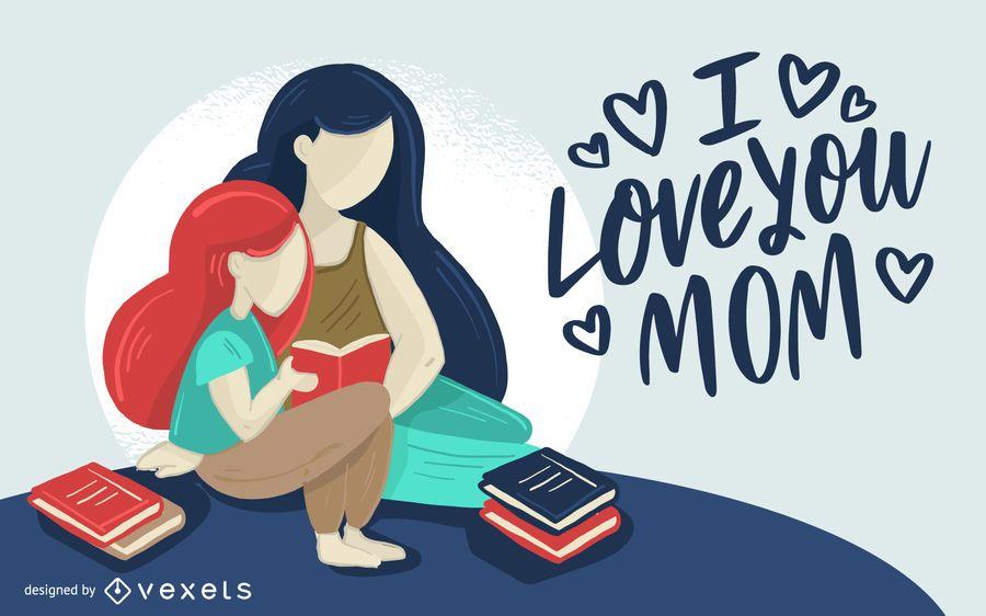 Love Mom Illustration Design