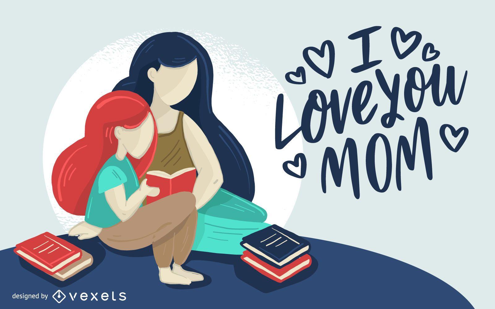 Diseño de ilustración de amor mamá