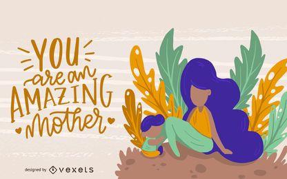 Diseño de ilustración de mamá increíble