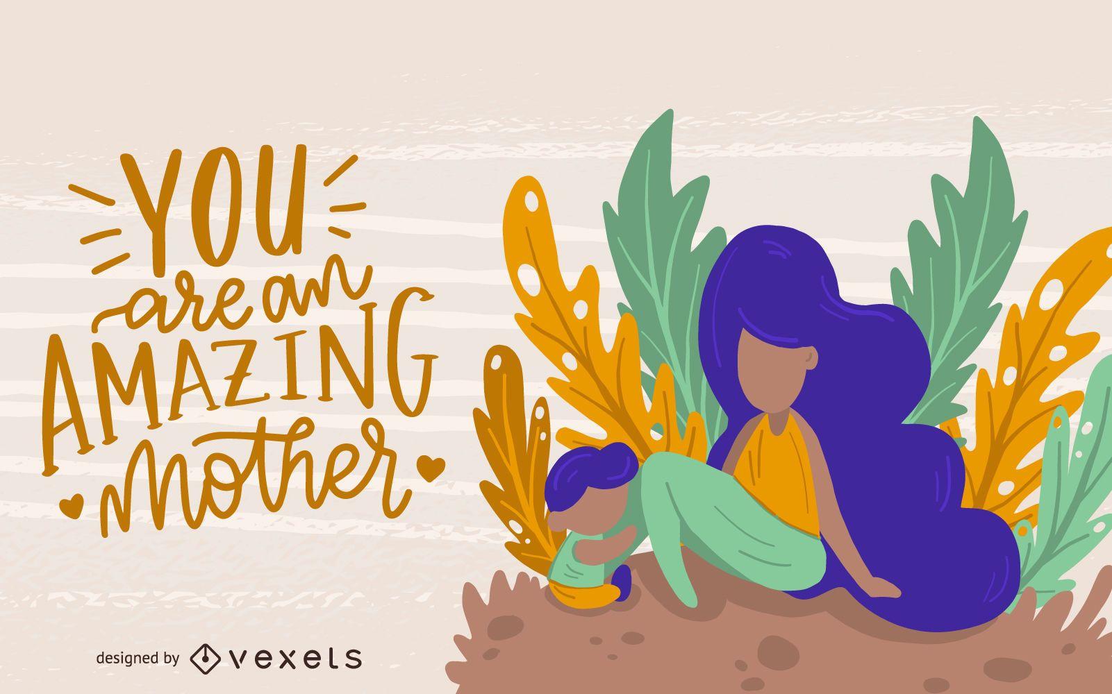 Amazing Mom Illustration Design