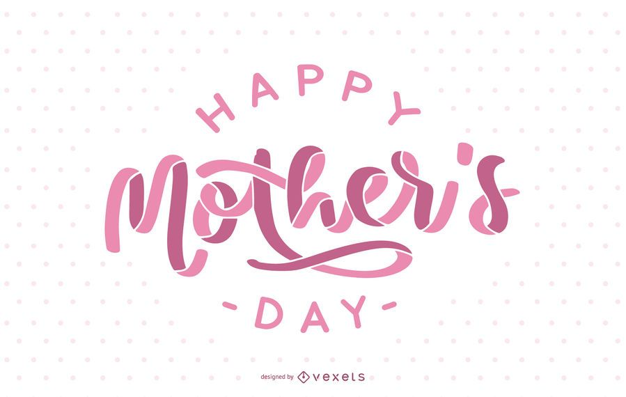 Pink Happy Mother's Day Lettering Design