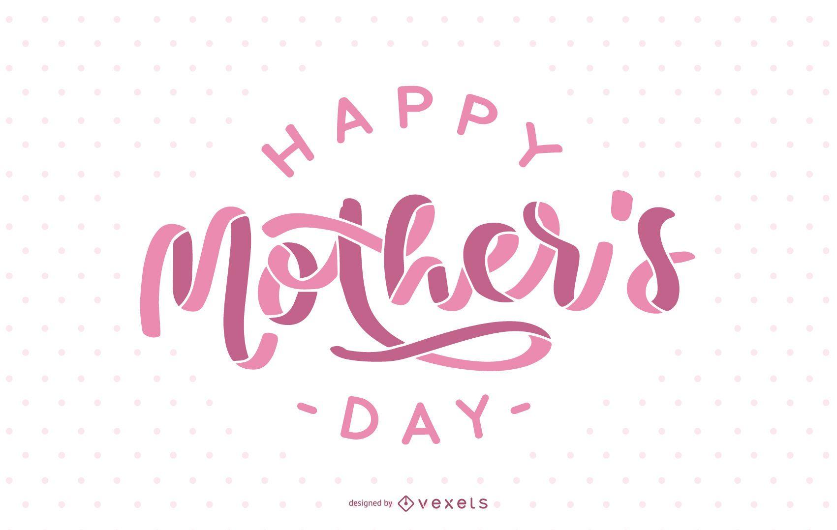 Diseño de letras rosa feliz día de la madre