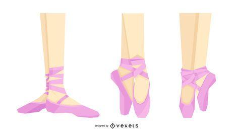 Rosa Ballerina Schuhe Set